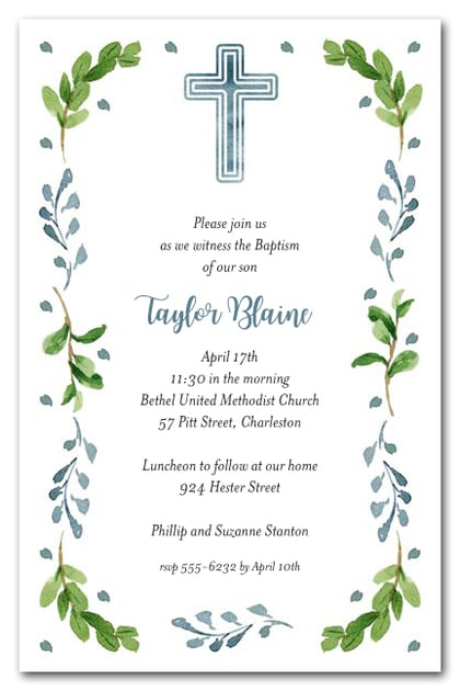 Blue Cross Leaves & Buds Baptism Or Christening Invitations