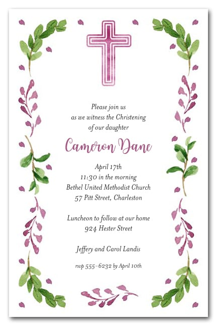 Pink Cross Leaves Amp Buds Baptism Or Christening Invitations