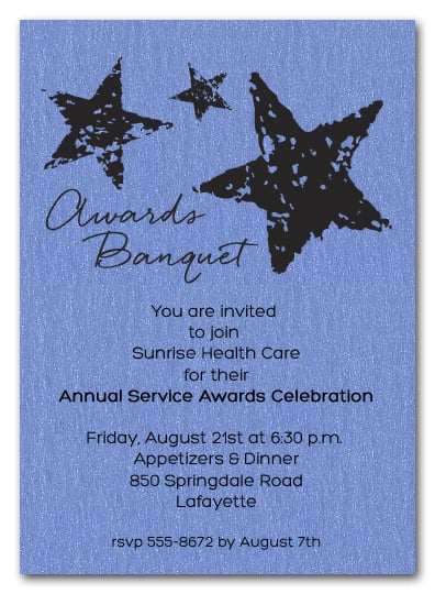 Stars On Blue Shimmery Business Awards Invitations