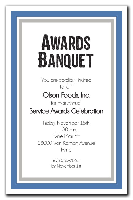 Blue And Silver Border Business Awards Party Invitations