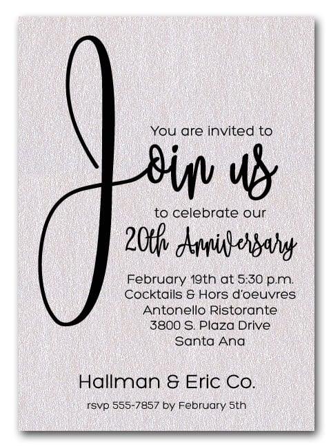Join Us Shimmery White Business Anniversary Party Invitations