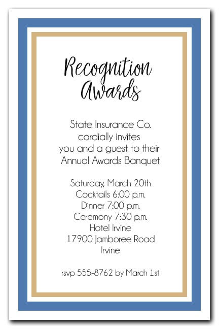 Blue And Gold Border Business Awards Party Invitations