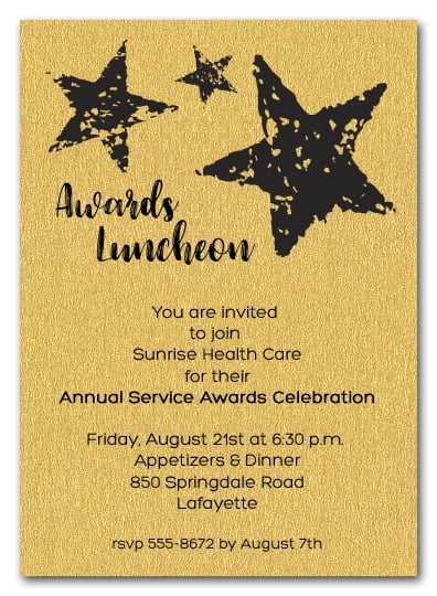 Stars On Gold Sparkle Business Awards Invitations