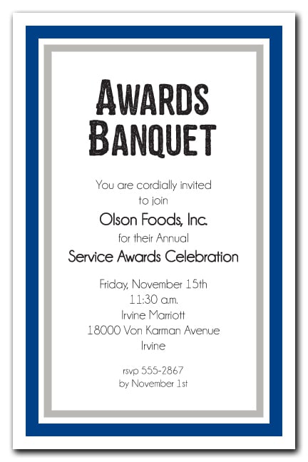 Navy Blue And Silver Border Business Awards Party Invitations