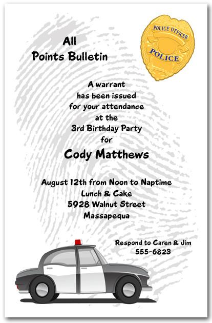 Fingerprint And Police Badge Birthday Invitations