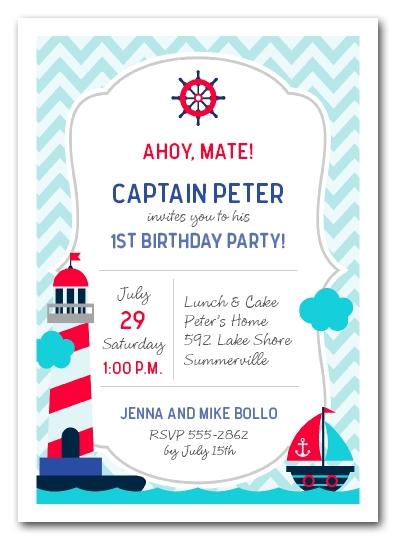 nautical kid birthday invitations