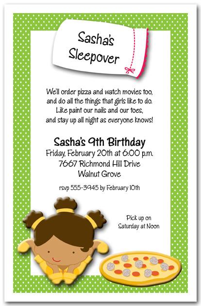 Sleepover Girls Party Invitation Pajama Party Birthday