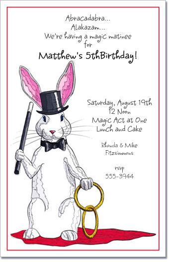 Magic Rabbit Party Invitations Magician Invitation
