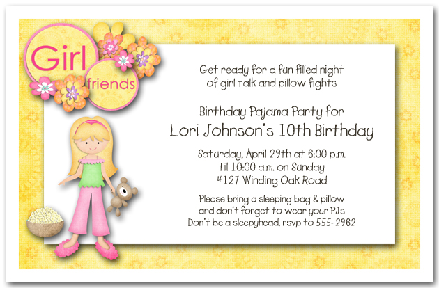 girls birthday party invitations