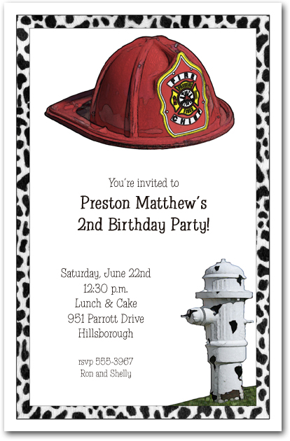 Fireman Hat & Hydrant Party Invitations
