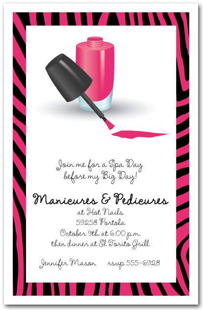 Manicures And Pedicures On Zebra Print Border Invitations
