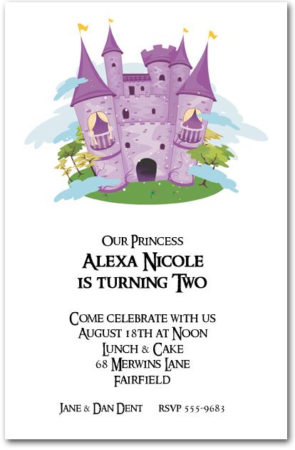 Purple Princess Castle Birthday Invitations Princess Invitations