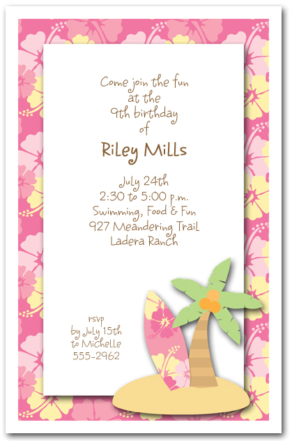 Surfboard Palm Tree Amp Pink Hibiscus Surfs Up Invitations