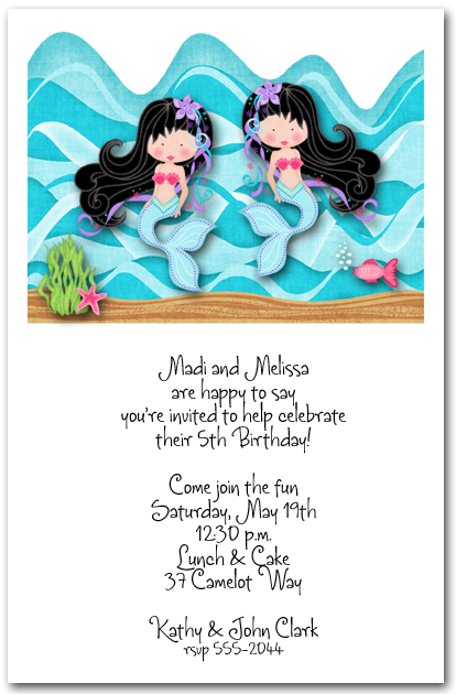 Black Hair Twin Mermaids Party Invitations Under The Sea