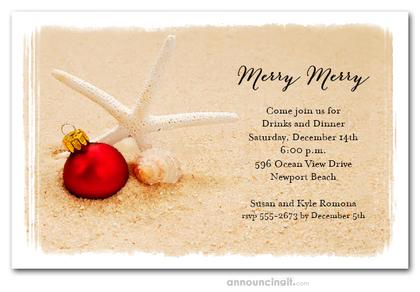 Starfish Beach Holiday Invitations Christmas Invitations