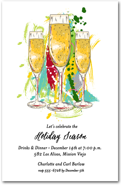 Abstract Holiday Champagne Glasses Party Invitations
