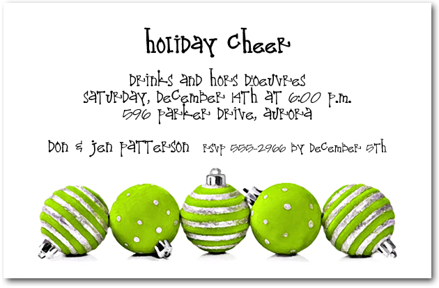 Silver Amp Lime Ornaments Holiday Invitations Christmas