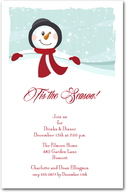 Red Scarf Snowman Party Invitations