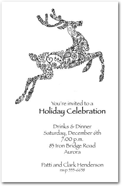 Reindeer Doodle Holiday Invitation Christmas Invitations