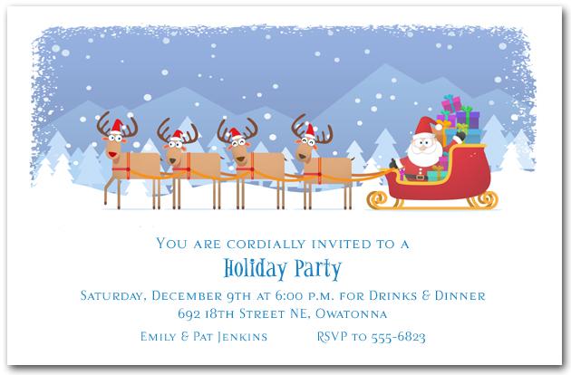 Santas Sleigh And Reindeer Holiday Christmas Party