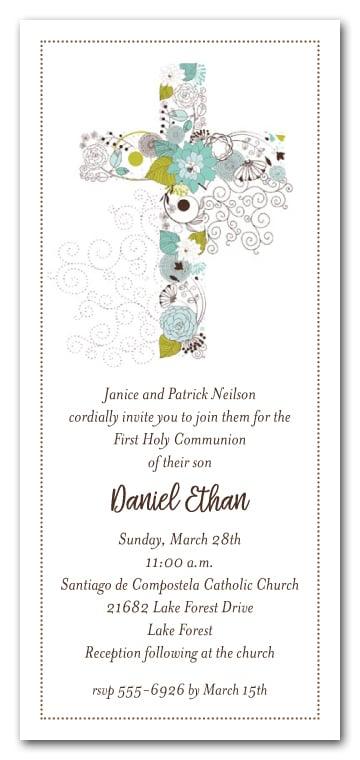 Blue Cross of Flowers Boys First Communion Invitations