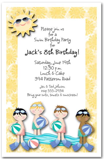 Boys Swim Time Party Invitation Pool Party Invitation
