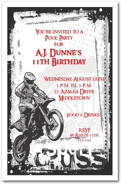 Motocross Grunge Invitation Motorcycle Birthday Invitation