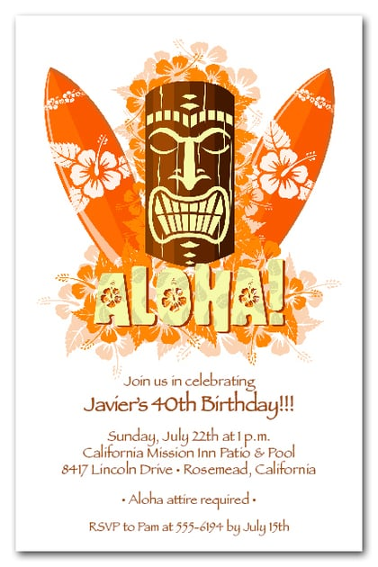 Aloha Tiki Mask Invitations Tropical Invitations Luau