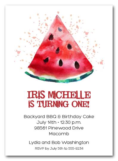 watermelon slice party invitations