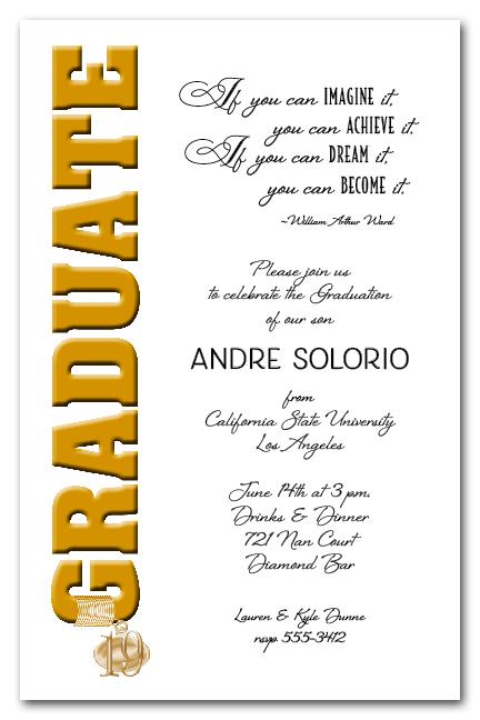 2019 Gold Graduate & Tassel Charm Graduation Party Invitations