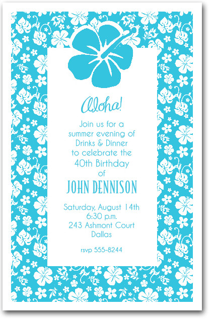White Hibiscus on Turquoise Hawaiian Party Invitations