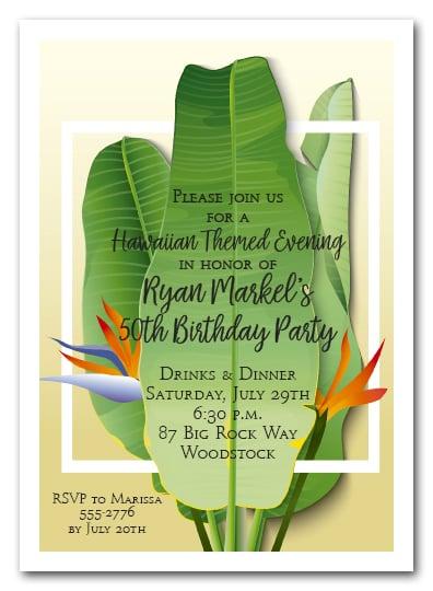 Banana Leaves Tropical Party Invitations Summer Invitations