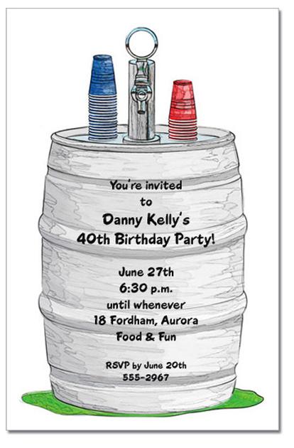 Beer Keg Party Invitations Beer Birthday Party Invitations