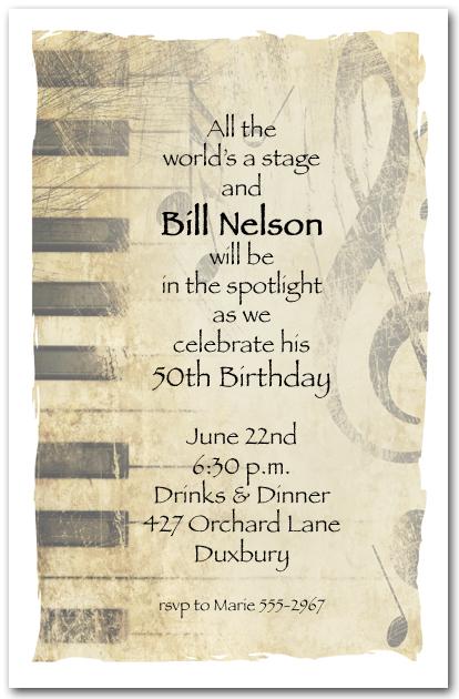 Grunge Piano Music Invitations Music Party Invitations
