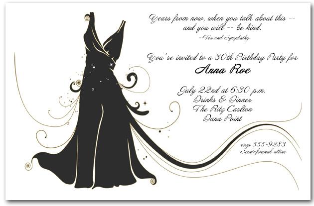 Little Black Dress Party Invitation