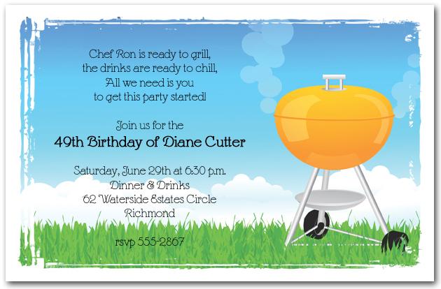 Orange Barbeque Grill Invitation BBQ Invitations