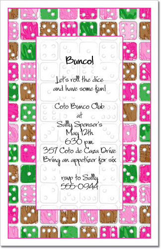 Dice Party Invitation Bunco Invitation Gambling