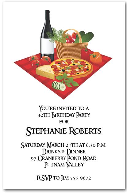 Pizza and Wine Invitation Italian Dinner Invitations