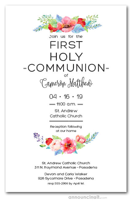 precious red floral first communion invites