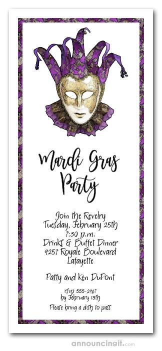 Purple Amp Gold Mardi Gras Mask Party Invitation Mardi Gras