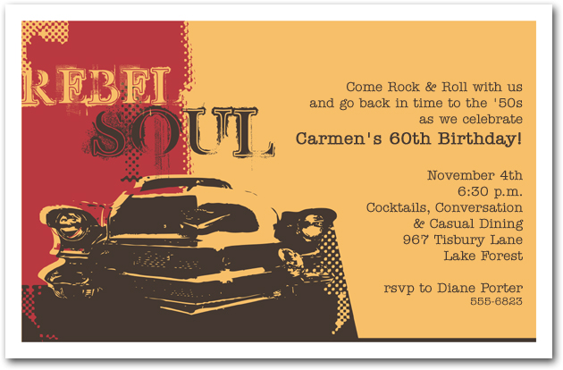 Rebel Soul Car Birthday Invitation 1950s Invitation