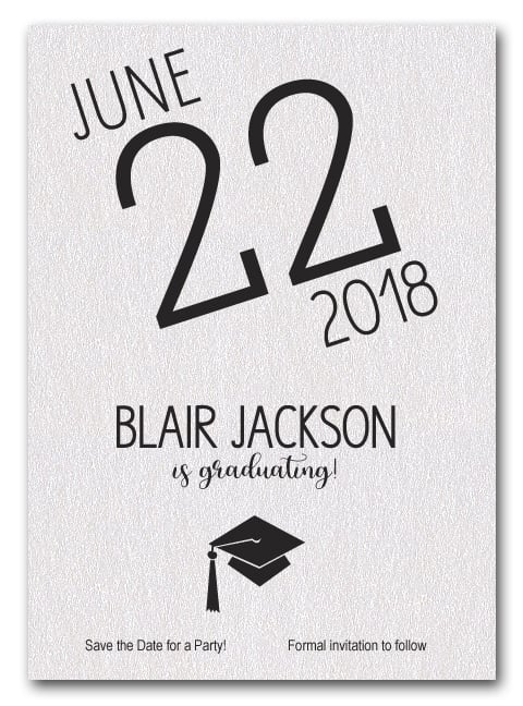 Shimmery White Modern Graduation Save the Date Cards