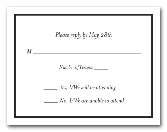 Thin Black Border RSVP Cards Black And White Reply Cards