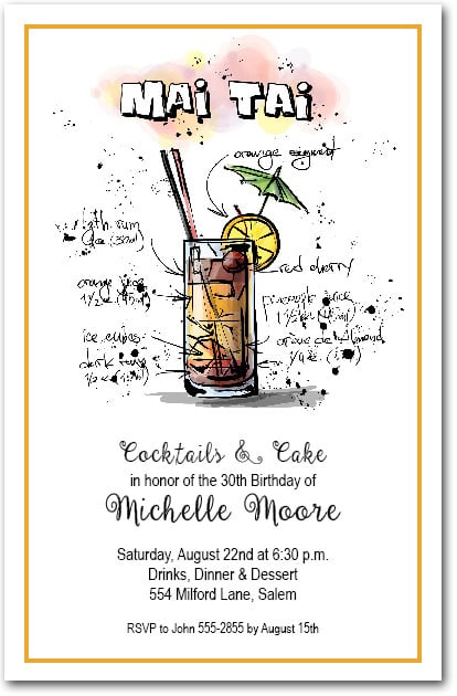 Mix Me A Mai Tai Cocktail Party Invitations