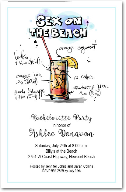 Mix Me A Sex On The Beach Cocktail Party Invitations