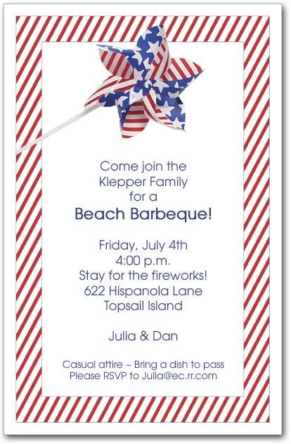 Stars And Stripes Pinwheel Invitations 4th Of July
