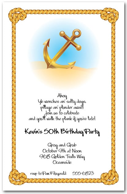 Anchor Amp Rope Nautical Themed Party Invitations