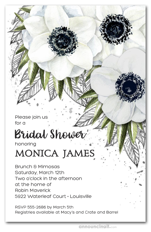 White Anemone Fl Bridal Shower
