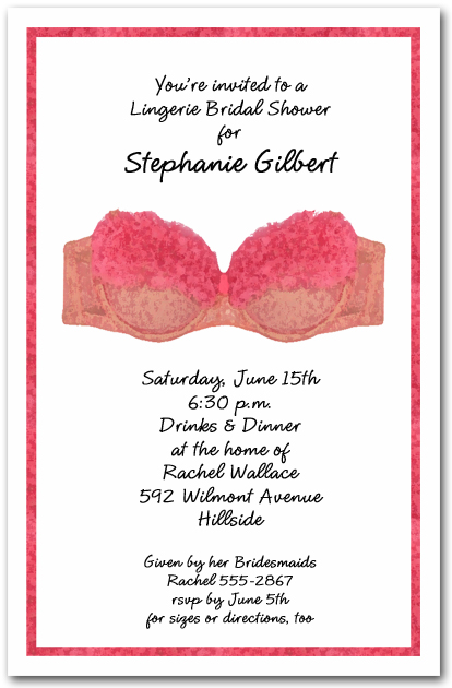 Pink Bra Lingerie Bridal Shower Invitations Lingerie