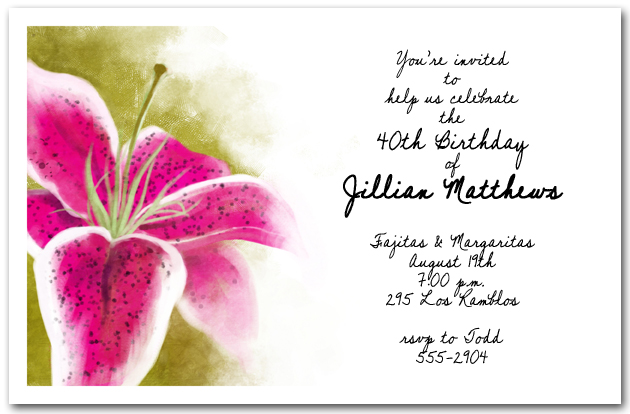 Stargazer Lily Party Invitation